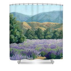 Shower Curtain featuring the painting Lavender, Blue And Gold by Sandy Fisher