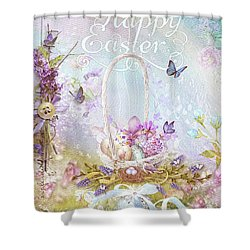 Shower Curtain featuring the mixed media Lavender Easter by Mo T
