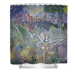 Shower Curtain featuring the painting Lavender Fairies by Judith Desrosiers