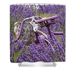 Lavender Farm Bike Shower Curtain