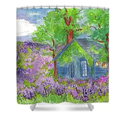 Shower Curtain featuring the painting Lavender Fields by Cathie Richardson