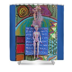 Shower Curtain featuring the painting Lavender Herbal Tincture by Clarity Artists