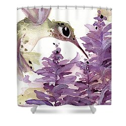 Shower Curtain featuring the painting Lavender Hummer by Dawn Derman