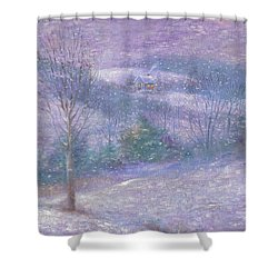 Lavender Impressionist Snowscape Shower Curtain
