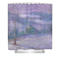 Lavender Impressionist Snowscape Shower Curtain