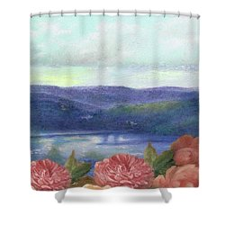Lavender Morning With Roses Shower Curtain