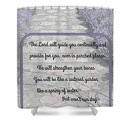 Lavender Path With Scripture Art Isiah 58 Shower Curtain