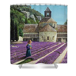 Lavender Picker - Abbaye Senanque - Provence Shower Curtain by Trevor Neal