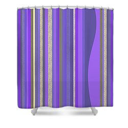 Shower Curtain featuring the digital art Lavender Random Stripe Abstract by Val Arie