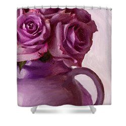 Lavender Roses And Tea Pot Shower Curtain by Sandra Foster