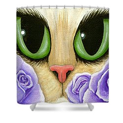 Lavender Roses Cat - Green Eyes Shower Curtain by Carrie Hawks