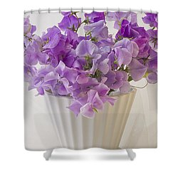 Lavender Sweet Peas And Chiffon Shower Curtain by Sandra Foster