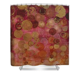 Layers Of Circles On Red Shower Curtain by Kristen Abrahamson
