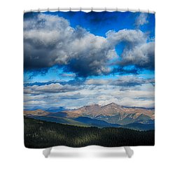 Layers Of Clouds On Mount Evans Shower Curtain