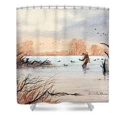Laying Out The Decoys I Shower Curtain by Bill Holkham