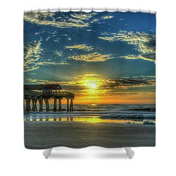 Shower Curtain featuring the photograph Lazy Days Of Summer Sunrise Tybee Island Pier Art by Reid Callaway