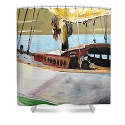 Shower Curtain featuring the painting Lazy Sloop by Stan Tenney