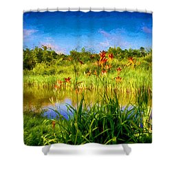 Lazy Summer Shower Curtain by Tricia Marchlik