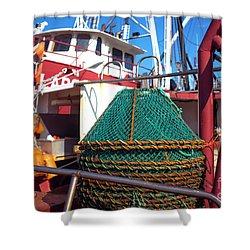 Shower Curtain featuring the photograph Lbi Green Fishing Nets by John Rizzuto