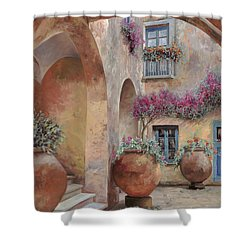 Le Arcate In Cortile Shower Curtain by Guido Borelli