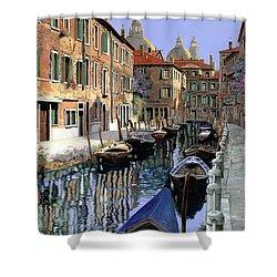 Le Barche Sul Canale Shower Curtain by Guido Borelli