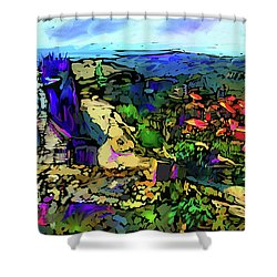 Shower Curtain featuring the painting Le Beaux, France by DC Langer