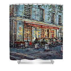 Le Cafe- Theatre De La Magie Shower Curtain by Joey Agbayani