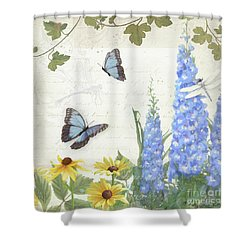 Shower Curtain featuring the painting Le Petit Jardin 1 - Garden Floral W Butterflies, Dragonflies, Daisies And Delphinium by Audrey Jeanne Roberts
