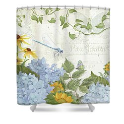 Le Petit Jardin 2 - Garden Floral W Dragonfly, Butterfly, Daisies And Blue Hydrangeas Shower Curtain by Audrey Jeanne Roberts