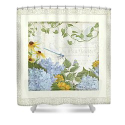 Shower Curtain featuring the painting Le Petit Jardin 2 - Garden Floral W Dragonfly, Butterfly, Daisies And Blue Hydrangeas W Border by Audrey Jeanne Roberts