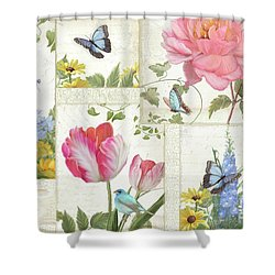 Shower Curtain featuring the painting Le Petit Jardin - Collage Garden Floral W Butterflies, Dragonflies And Birds by Audrey Jeanne Roberts