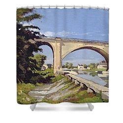Le Pont Canal A Briare Shower Curtain by Henri Joseph Harpignies