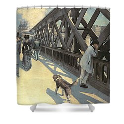 Le Pont De L'europe Shower Curtain by Gustave Caillebotte
