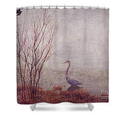 Le Retour De Mon Heron Shower Curtain by Aimelle