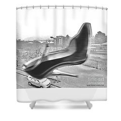 Flying Stiletto Shower Curtain by Don Pedro De Gracia