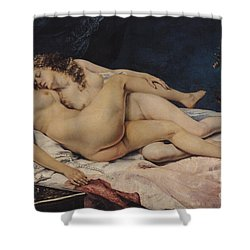 Le Sommeil Shower Curtain by Gustave Courbet