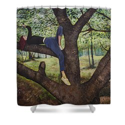 Shower Curtain featuring the painting Lea Henry And The Henry Tree by Ron Richard Baviello