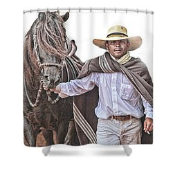 Shower Curtain featuring the photograph Leading To Competition Peruvian Horse by Toni Hopper