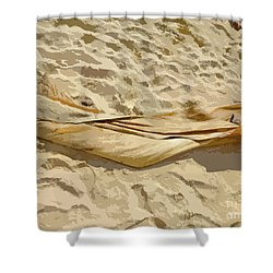Shower Curtain featuring the digital art Leaf In The Sand by Francesca Mackenney