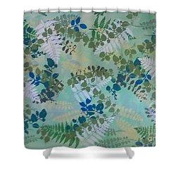 Leafy Floor Cloth Shower Curtain by Judith Espinoza