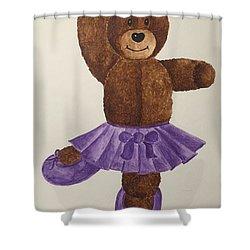 Shower Curtain featuring the painting Leah's Ballerina Bear 1 by Tamir Barkan