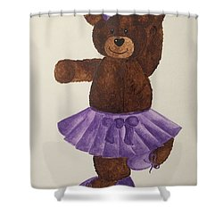 Shower Curtain featuring the painting Leah's Ballerina Bear 4 by Tamir Barkan