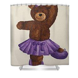 Shower Curtain featuring the painting Leah's Ballerina Bear 5 by Tamir Barkan