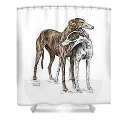 Lean On Me - Greyhound Dogs Print Color Tinted Shower Curtain
