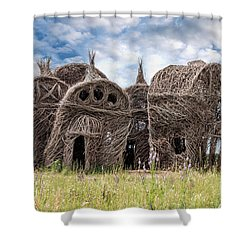 Lean On Me - Stick House Series 1/3 Shower Curtain