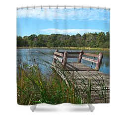 Leaning Pier At Pine Lake Shower Curtain by Cedric Hampton