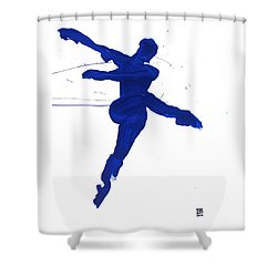 Shower Curtain featuring the painting Leap Brush Blue 1 by Shungaboy X
