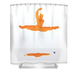 Leap Brush Orange 1 Shower Curtain
