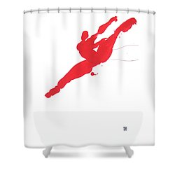 Shower Curtain featuring the painting Leap Brush Red 3 by Shungaboy X