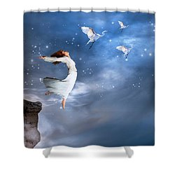 Shower Curtain featuring the digital art Leap Of Faith by Nicole Wilde